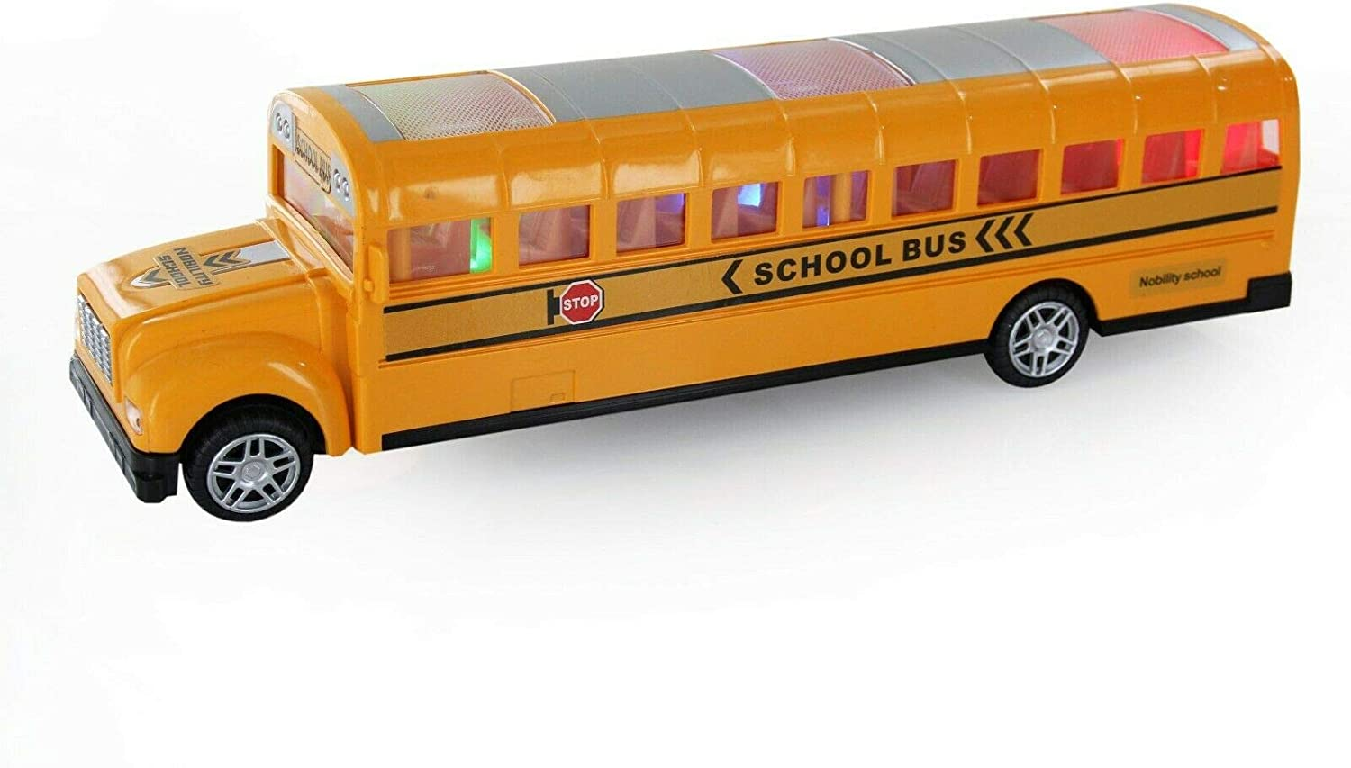 11 Inches Die-Cast New York Super School Bus Battery Operated Function Realistic Detailing Lights and Music Sounds Bump and Go Action Idea Gift