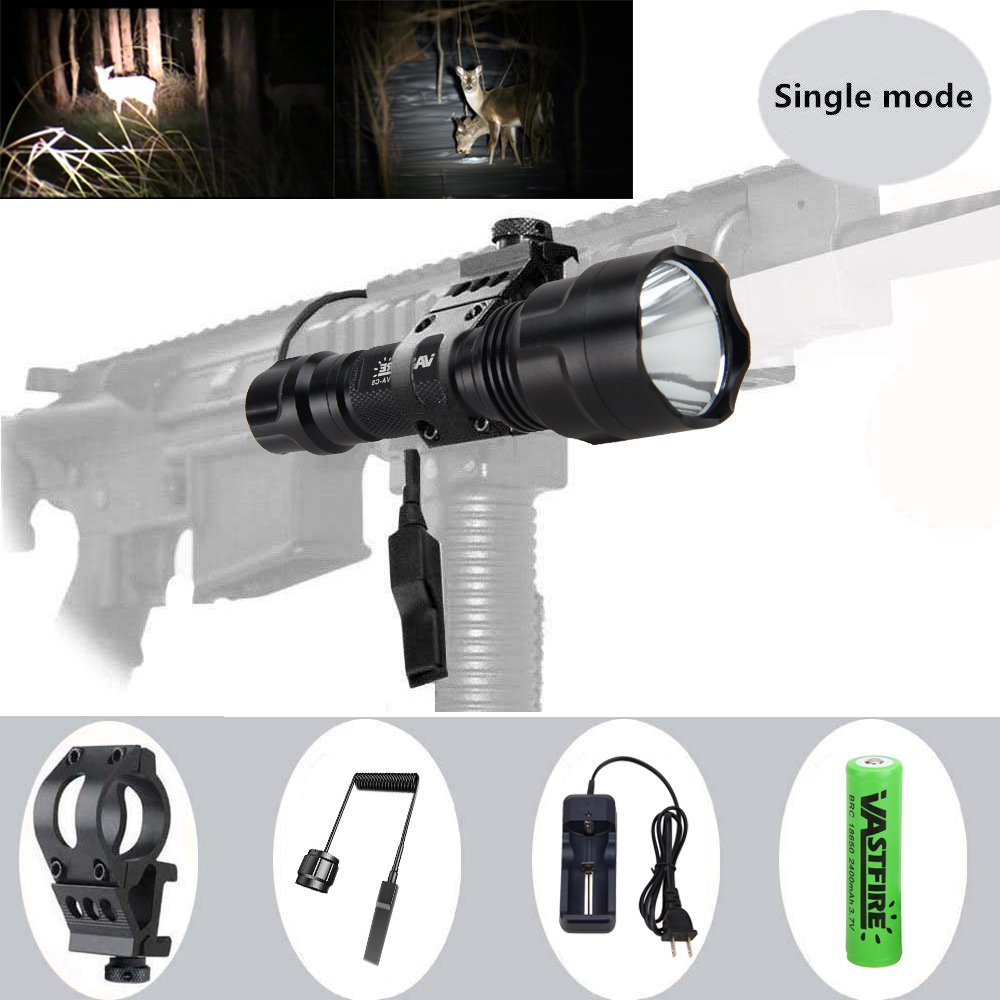 150 yard Single Mode Tactical Flashlight 500 Lumen White LED light with Offset Mount Rifle Airsoft AR 15 Shotgun Coyote Hog Pig Varmint Predator Hunting Shooting Tactical Use (white)