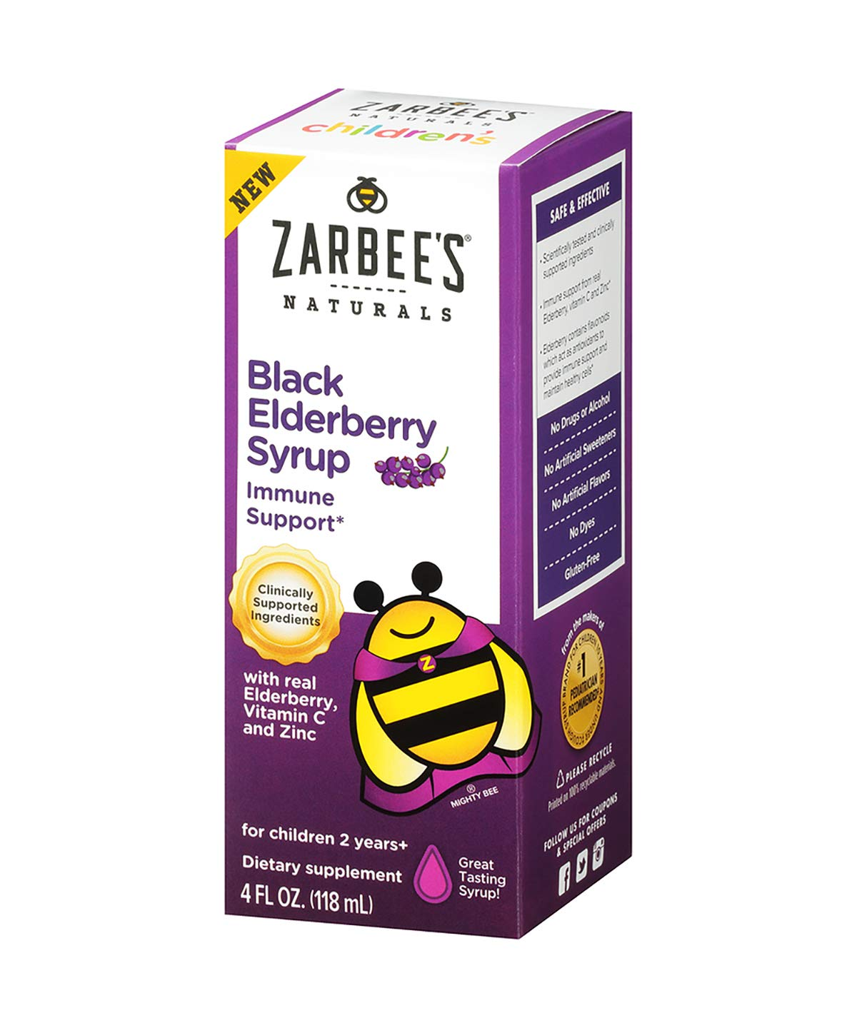 Zarbee's Naturals Children's Black Elderberry Syrup for Immune Support with Real Elderberry, Vitamin C, and Zinc, 4 Ounce