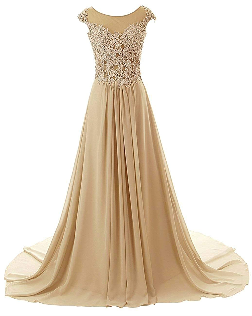 Champagne Wanshaqin Women's Aline Lace Appliques Evening Party Cocktail Dresses Bridesmaid Gowns Prom Formal Dresses for Events Party
