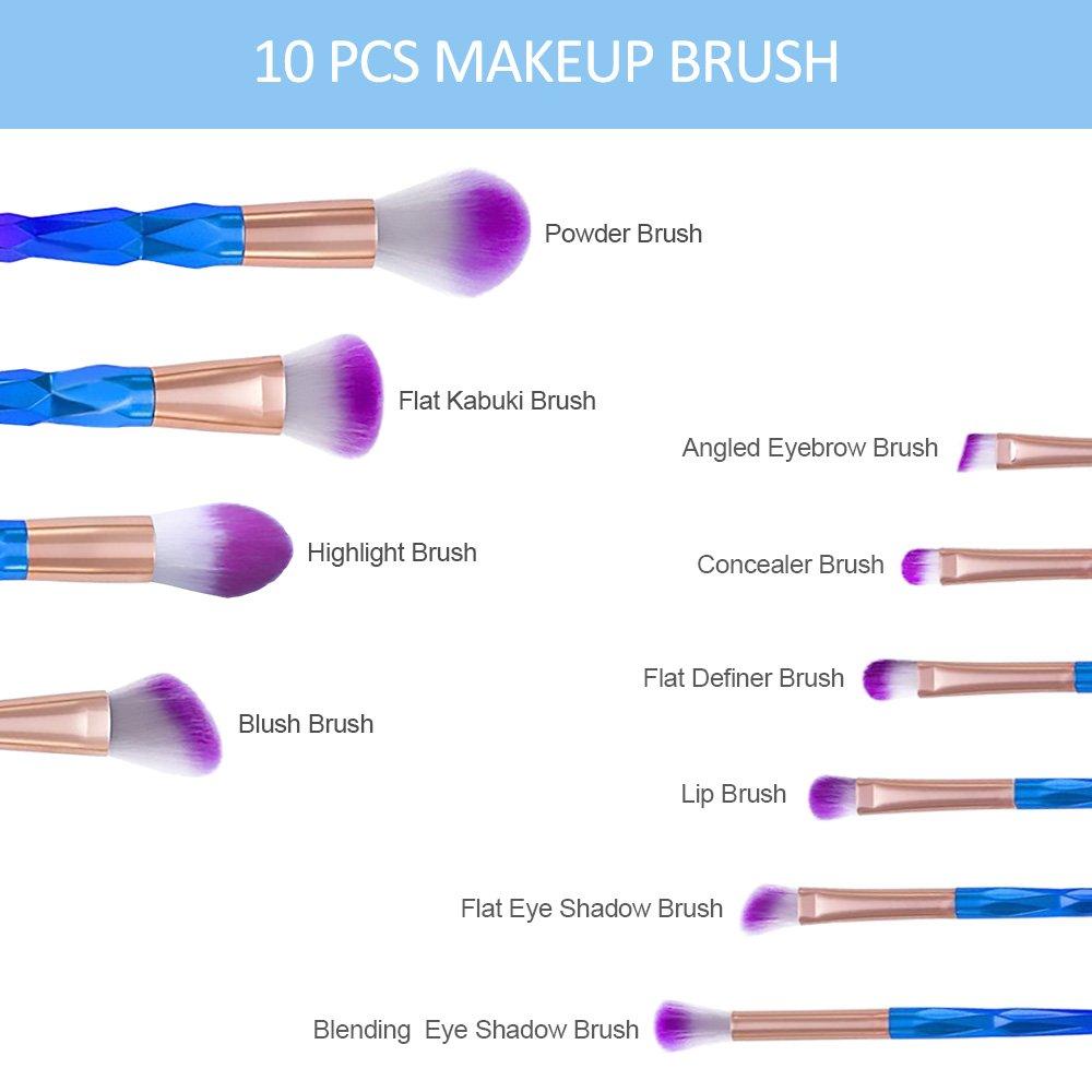 Makeup Brush Set 10 Pieces, L'aise vie Premium Synthetic Kabuki Foundation Face Powder Blush Eyeshadow Brush Lip Brushes Colorful Makeup Brush Kit Cruelty-Free Synthetic Fiber Bristles