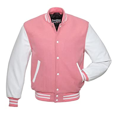 C127 Pink Wool White Leather Varsity Jacket Letterman Jacket at ...