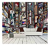 wall26 - Illustration of a Street in New York City - Removable Wall Mural | Self-Adhesive Large Wallpaper - 100x144 inches