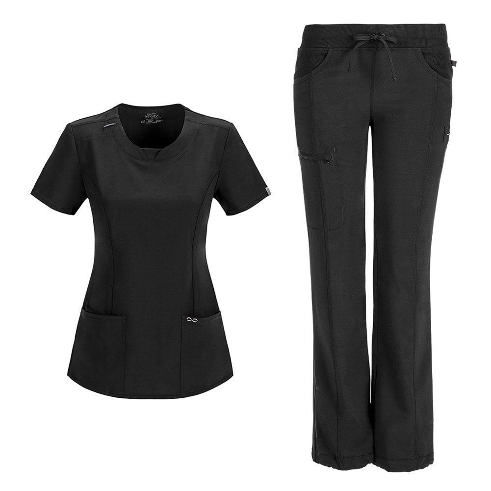 Infinity by Cherokee Womens 2624A Round Neck Top with badge loop & 1123A Straight Leg Low Rise Comfort Pant Medical Uniform Scrub Set Top & Pants (Black - Medium)