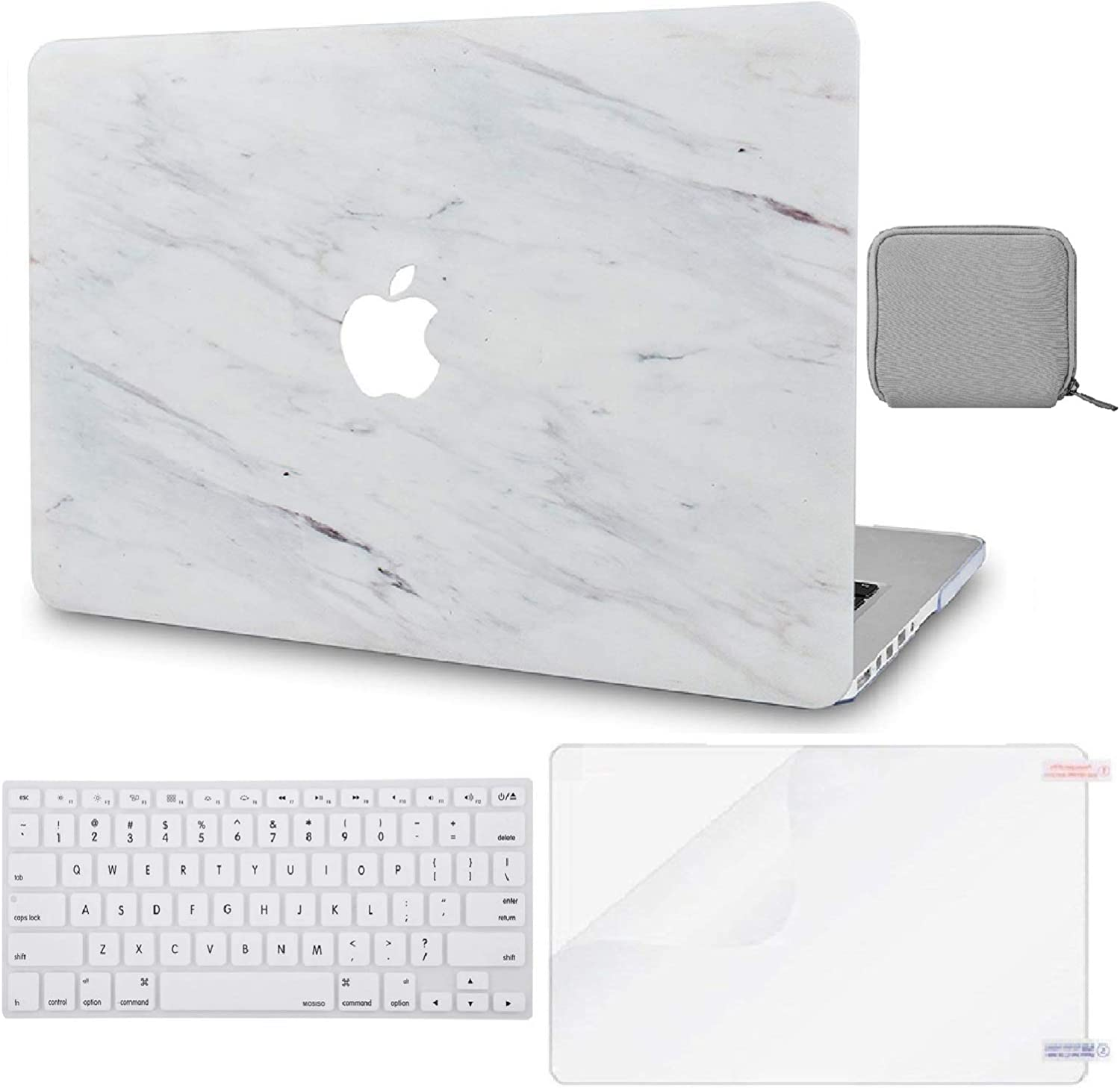 "LuvCase 4 in 1 Laptop Case for Old MacBook Pro 13"" Retina Display (2015/2014/2013/2012) A1502/A1425 Hard Shell Cover, Pouch, Keyboard Cover & Screen Protector (Silk White Marble)"