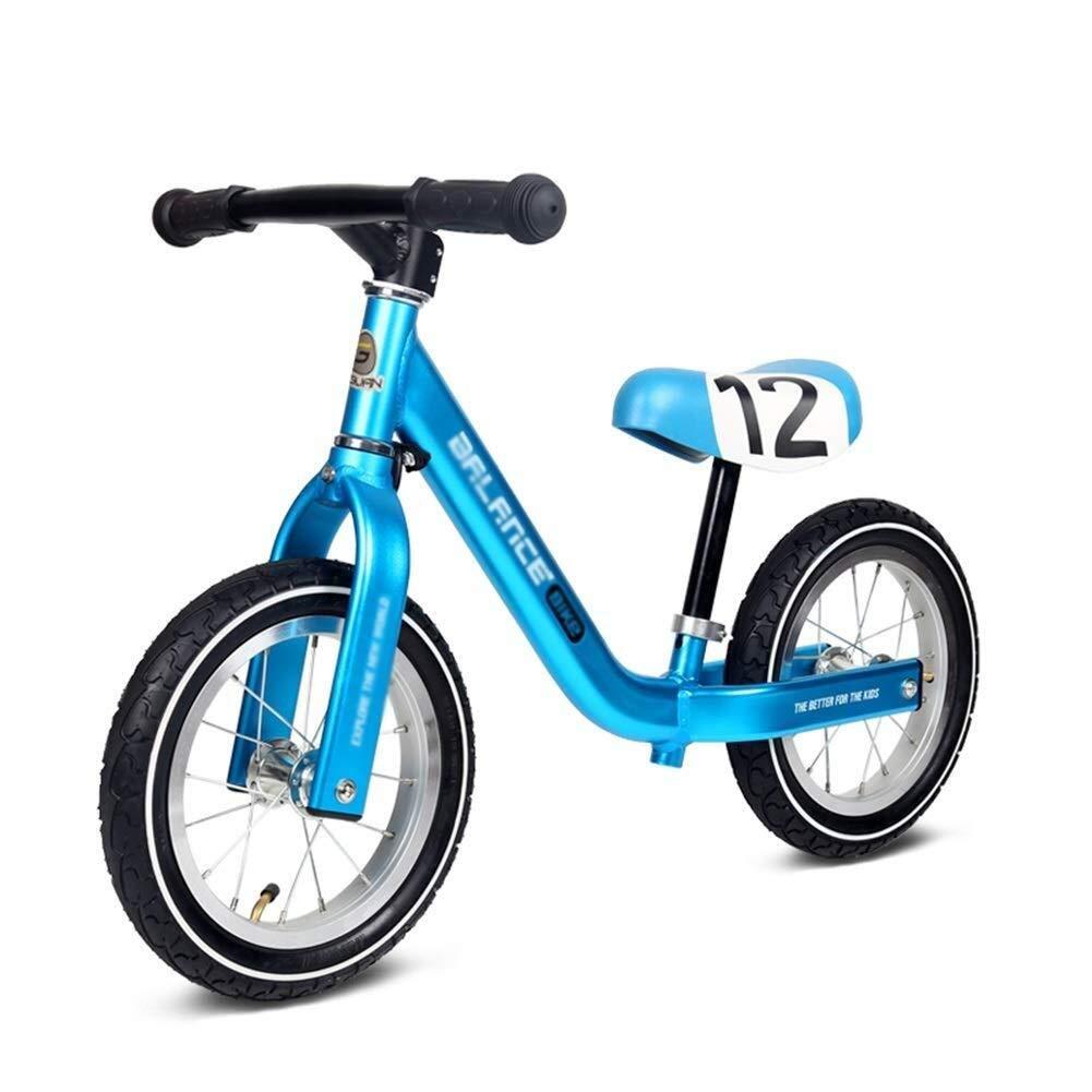 バランスバイク、プッシュバイク、15歳のお子様、28cm用タイヤ、アルミ製ペダルなし、誕生日プレゼント用ウォーキングバランストレーニング用自転車、調節可能なハンドルバーシート ZHAOFENGMING (Color : Blue, Size : As shown) B07TNJF6NK Blue As shown