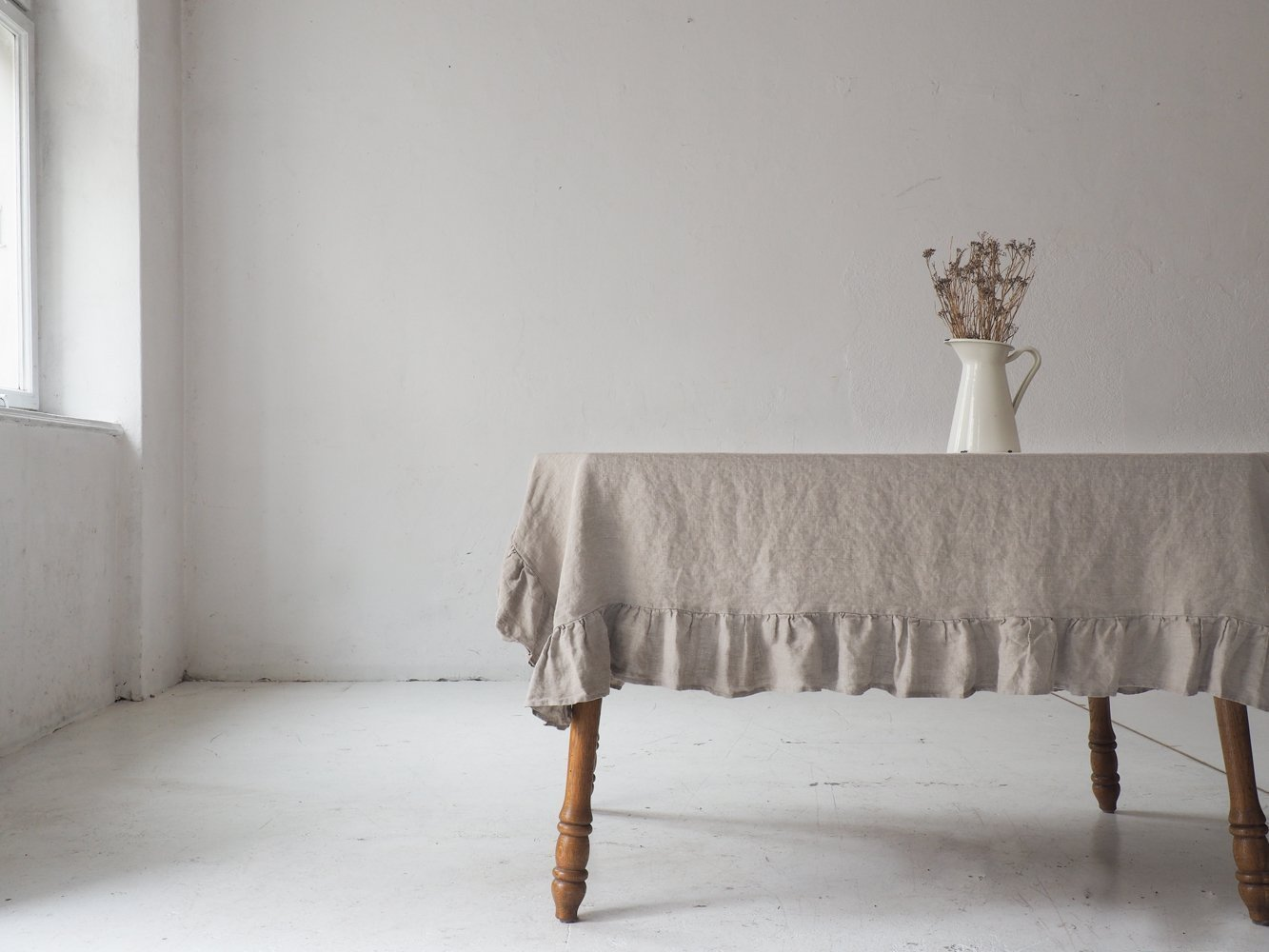 Linen Ruffled tablecloth, natural linen tablecloth, rustic tablecloth, custom size