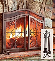 Small Crest Fireplace Screen With Doors And Tool Set, in Copper Finish