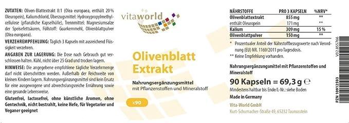 Extracto de Hojas de Olivo - Dieta balanceada 90 Cápsulas Vita World Alemania: Amazon.es: Salud y cuidado personal
