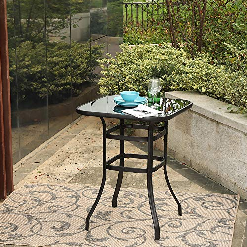 PHI VILLA Patio Bar Table Outdoor Furniture Steel Frame All Weather for Outdoor (Brown)