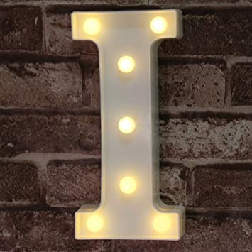 LED Marquee Letter Lights Sign, Light Up Alphabet Letter for Home Party Wedding Decoration I