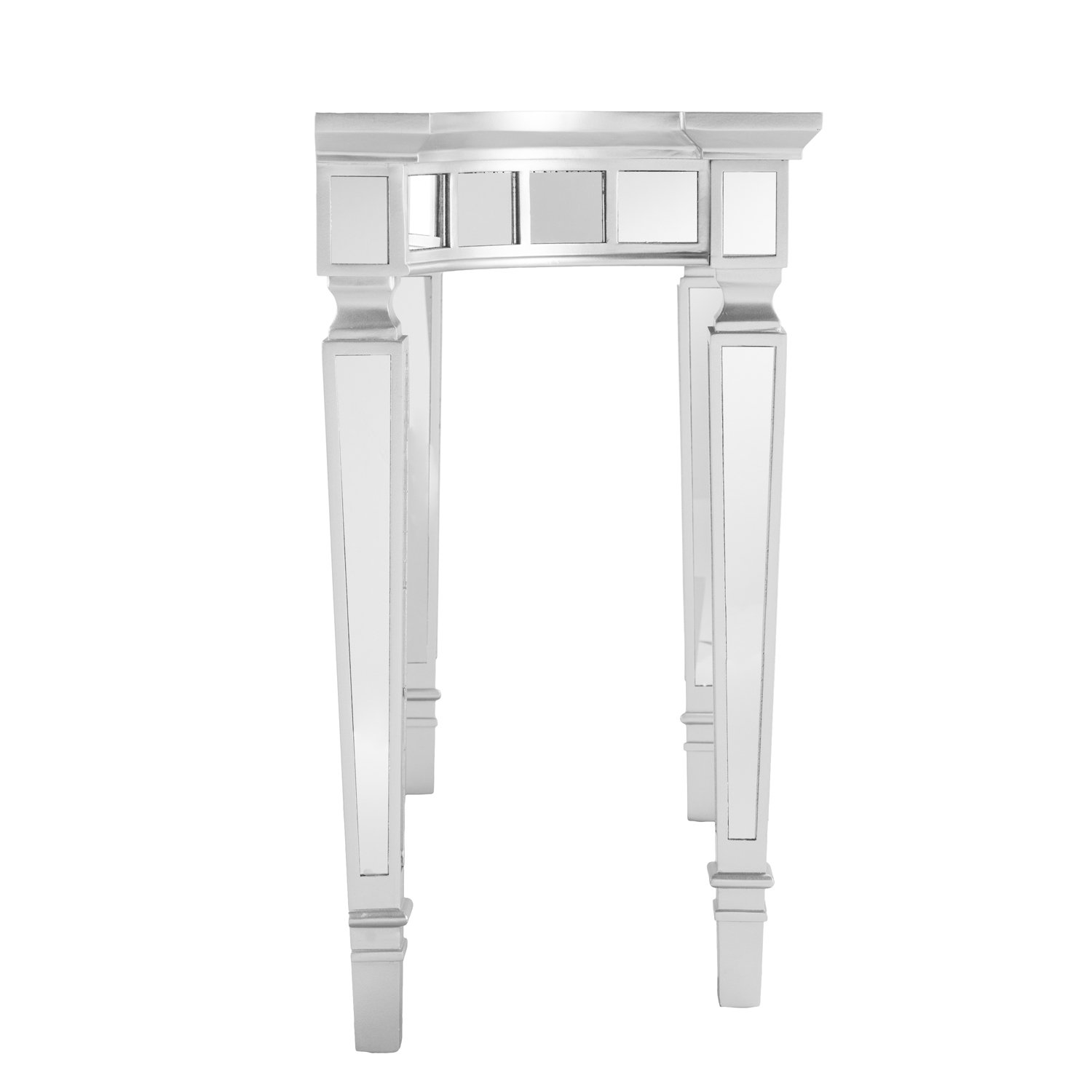 Southern Enterprises Glenview Mirror Console Table – Mirrored Surface w Silver Matte Trim – Glam Style