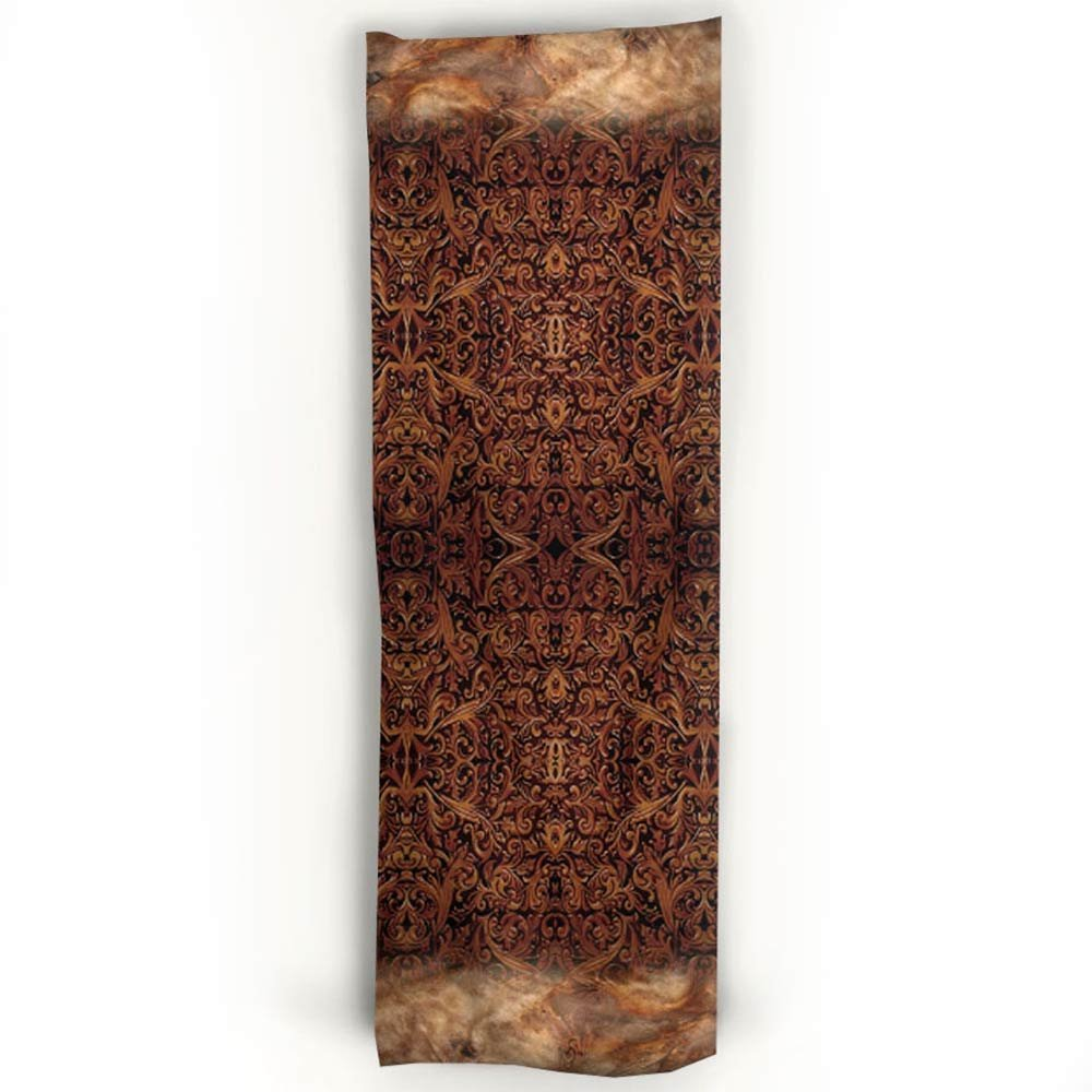 Western Tooled Leather & Cowhide Printed Cashmere Silk Scarf