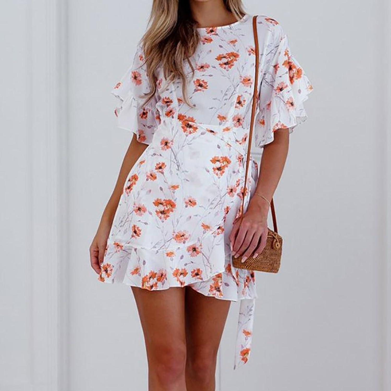 Cloom🍀Damen Chiffon Print Mini Kleid Frauen Sommer Blumendruck ...