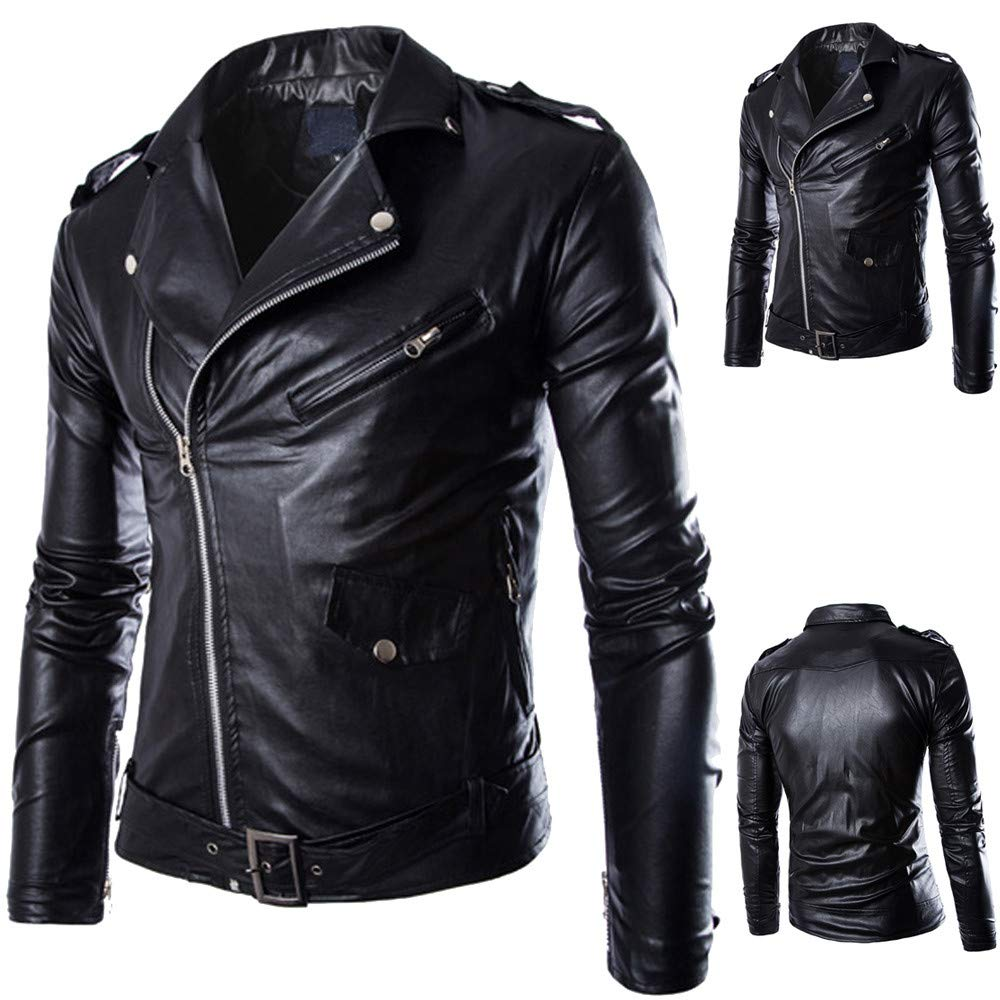 Amazon.com: Clearance Sale! Mens Jacket Faux Leather Casual Blouse Premium Stand Collar Zipper Locomotive Outwear Coat with Pocket (2XL, Black): Garden & ...