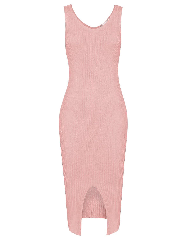 Tom's Ware Damen Elegantes Aermelloses Bodycon Midi-Kleid Oeffnung unten