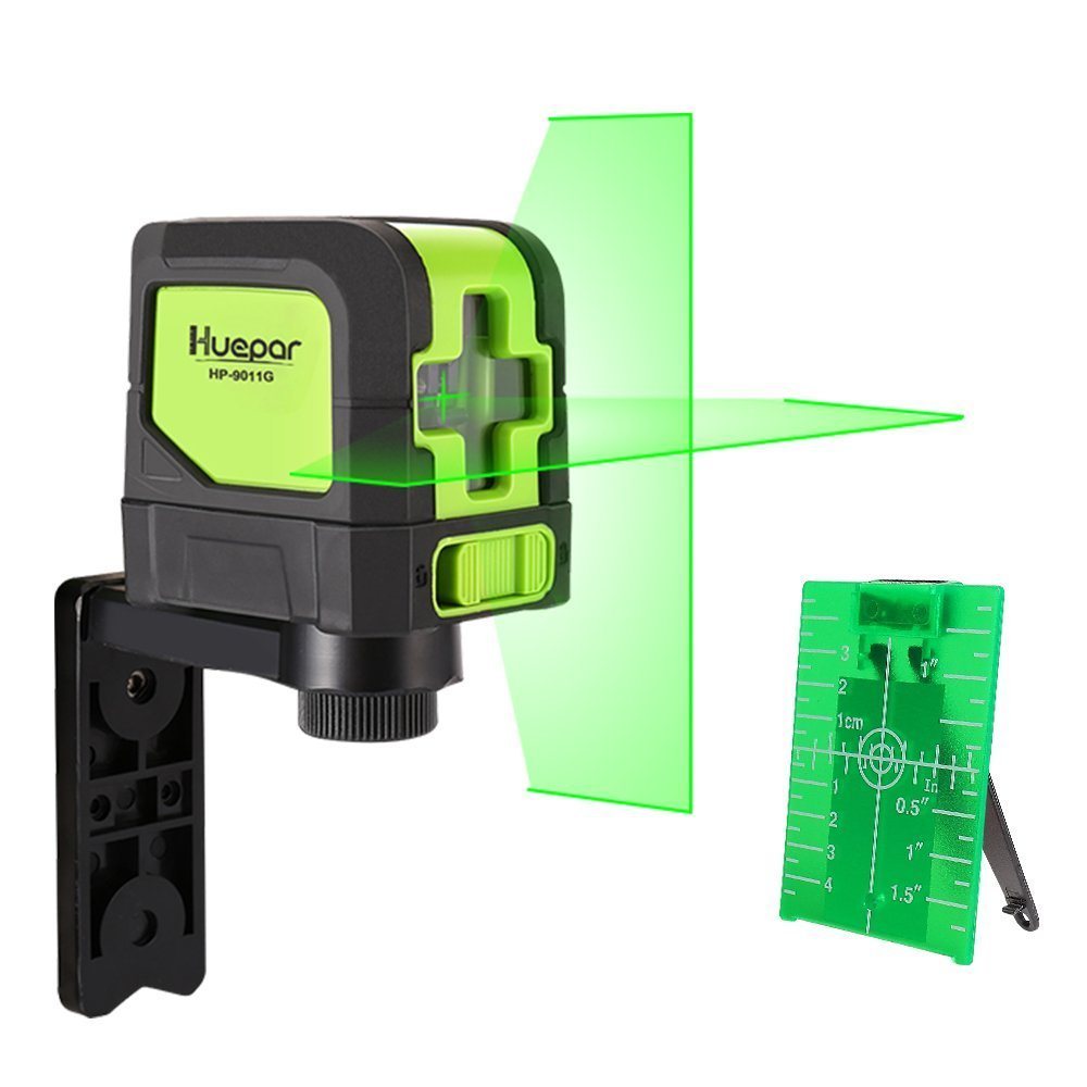Huepar Green Laser Level DIY - Mute Cross Line Laser Self-Leveling 9011G 98 Ft Cross Green Beam Laser Horizontal and Vertical Lines, Bright Laser with Magnetic Pivoting Base