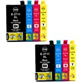 Caidi® High Capacity Replacement Ink Cartridges for Epson 27 27XL T27 T2711 T2712 T2713 T2714 and Epson WorkForce WF7110 WF7610 WF7620 WF3620 WF3640 WF7710 Printers 8x(2Noir//2cyan/2magenta/2Jaune)