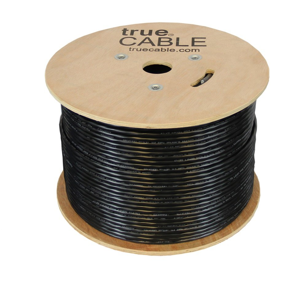 Cat5e Outdoor, Shielded - FTP, 1000ft, Waterproof Direct Burial Rated CMX, Solid Bare Copper Bulk Ethernet Cable, 350MHz, ETL Listed, Black, trueCABLE