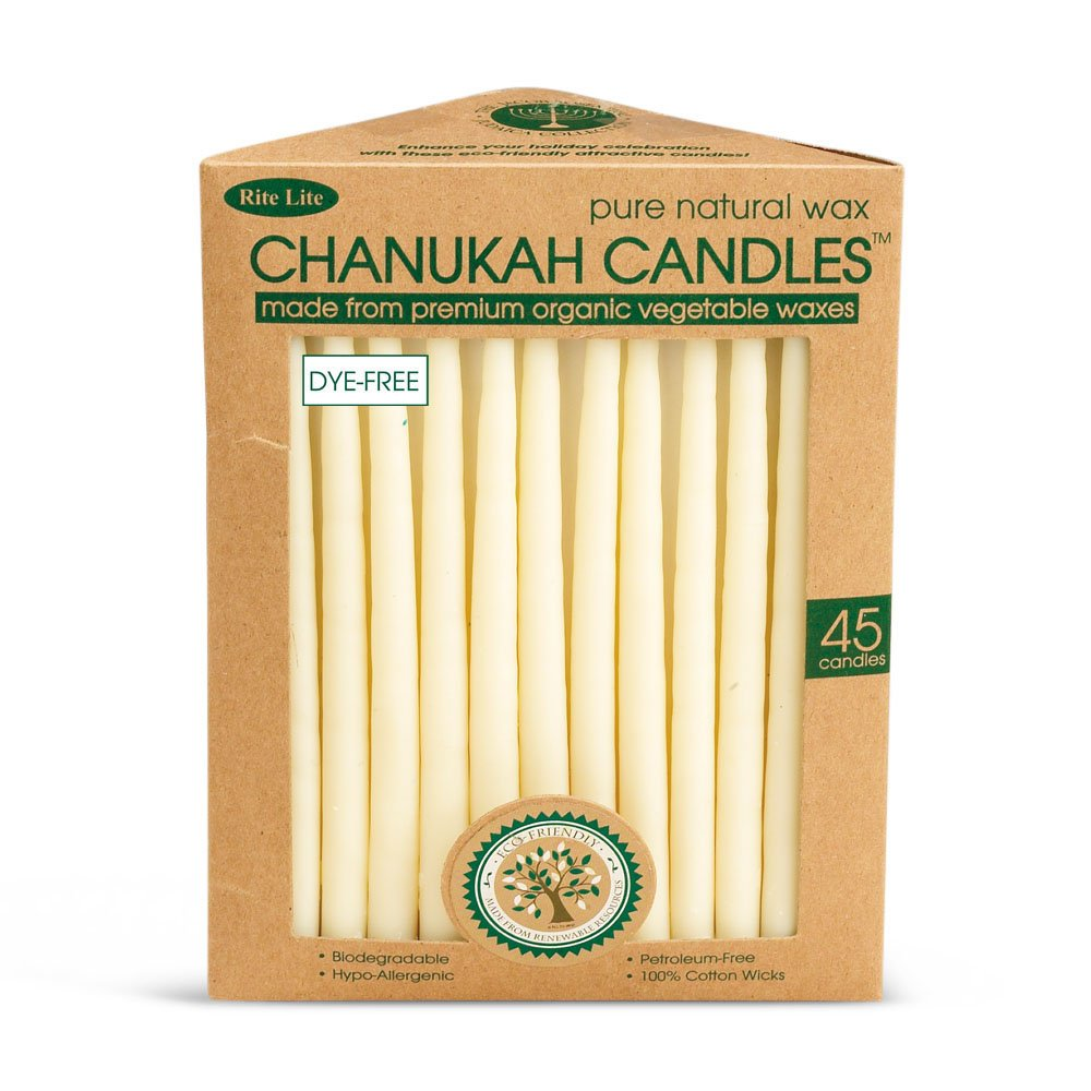 Eco-Friendly Hand Dipped Pure Natural Wax Chanukah Hanukkah Candles/45 Candles per Box Rite Lite Judaica