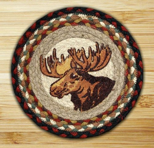 Earth Rugs 80-019 Moose Pinecone Round Printed Swatch, 10-Inch - Moose Portrait