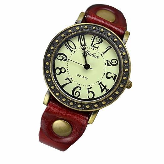 Reloj de pulsera Joya reloj mujer Algodón Dial redondo Números arábigos Quarzo analógico Mujer Rojo Urs: Amazon.es: Relojes
