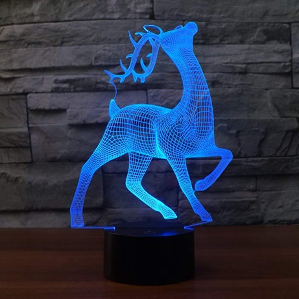 Creativo 3D Ciervo Luz de Noche 7 Colores que Cambian USB Poder Touch Switch Ilusión óptica Decor Lámpara LED Mesa Lámpara Niños Juguetes Cumpleaños Navidad Regalo [Clase de eficiencia energética A++] ZhuangYu