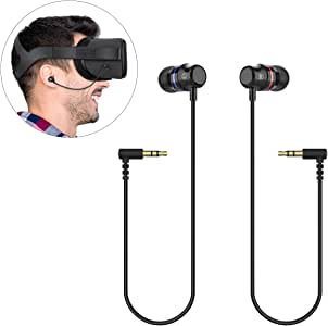 KIWI design Oculus Quest Headphones, Stereo Earbuds Custom Made in-Ear Earphones for Oculus Quest VR Headset (Black, 1 Pair)