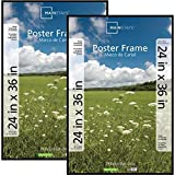 24x36 Basic Poster & Picture Frame, Black, Set of 2 Easy to Hang Fine Size Mainstays Large Artwork and Prints Four Rails Plastic Extruded Construction Hanging Hardware Ideal for Hallways