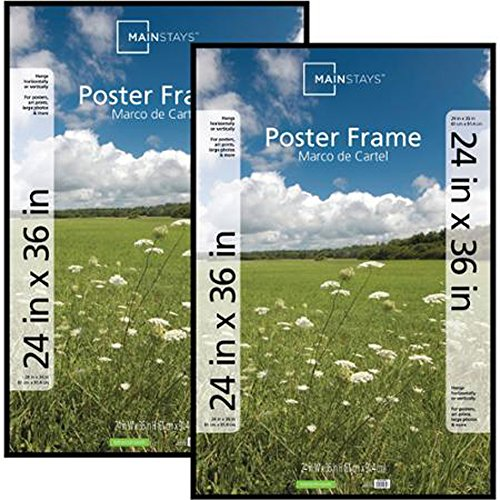 24x36 Basic Poster & Picture Frame, Black, Set of 2 Easy to Hang Fine Size Mainstays Large Artwork and Prints Four Rails Plastic Extruded Construction Hanging Hardware Ideal for Hallways by Get Best Deals 4 You