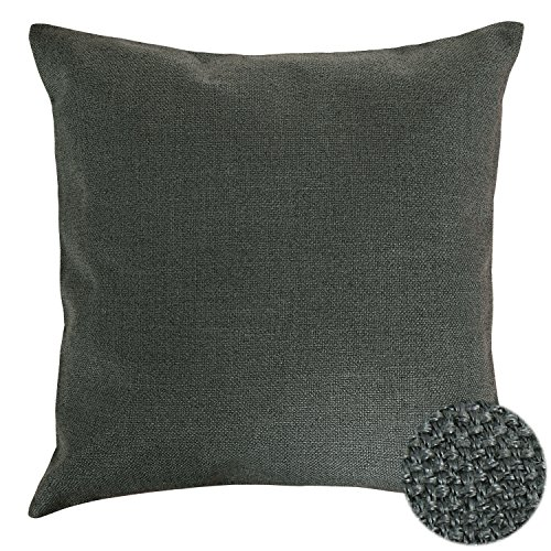 Deconovo Throw Pillow Faux Linen Home Decorative Hand Made Pillow Case Cushion Cover For Nap , 18×18-inch, Dark Amry Green