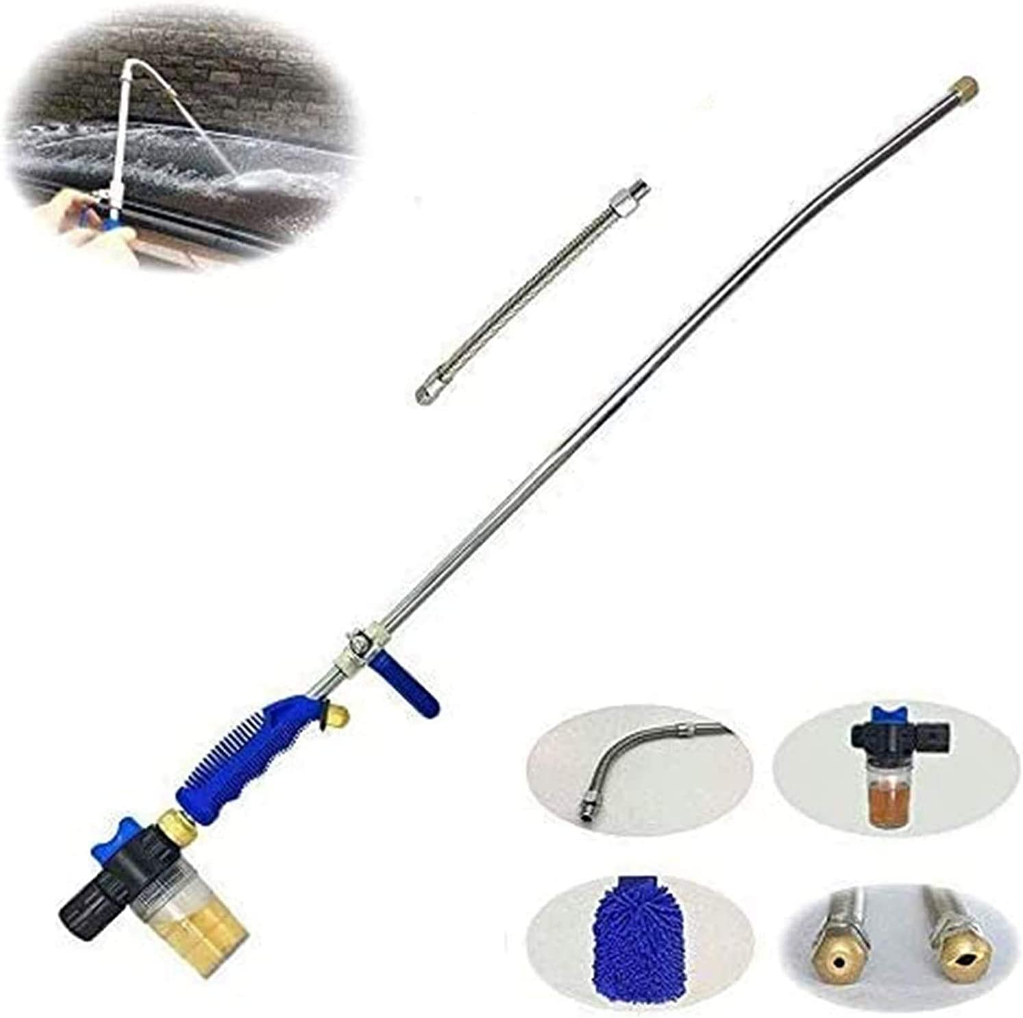 Hydro Deep Jet Power Washer Wand - 39'' Long Extendable High Pressure Garden Sprayer Attachment, Water Hose Nozzle,Flexible Glass Cleaning Tool, Foam Cannon Car Window Washer, 2 Tips