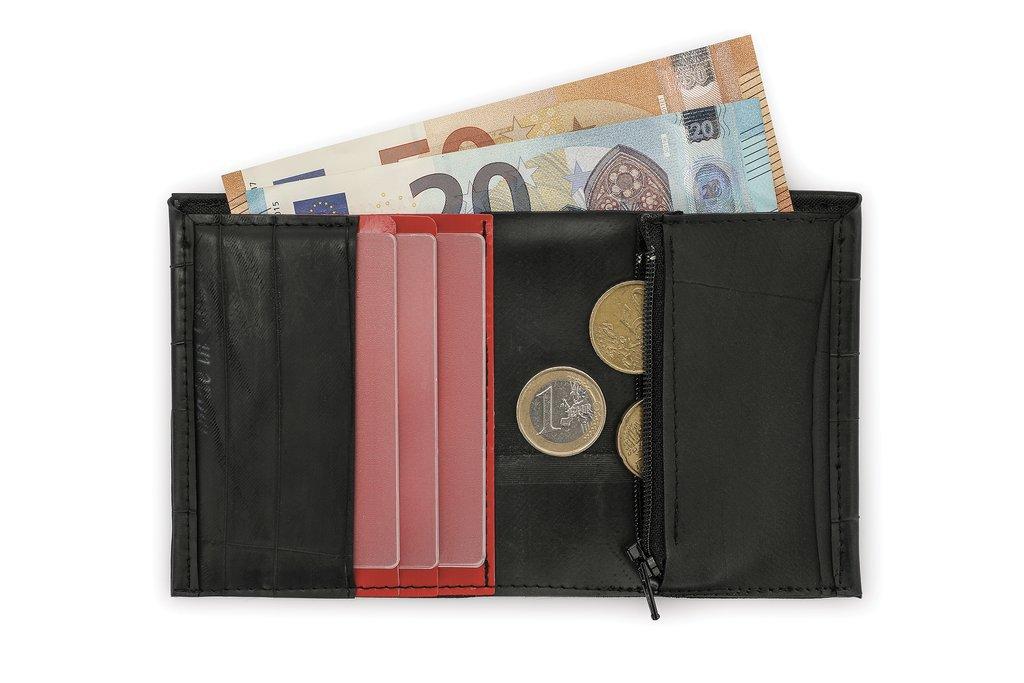 COMPATTO // Portafoglio verticale con portamonete e portatessere rosso