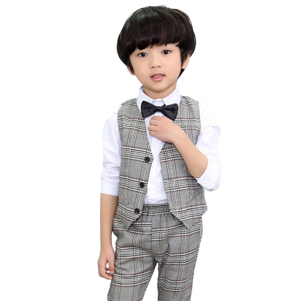 Boys Grid Wedding Suit Formal Dress Jacket Pant Grey Set 4Pcs Size for 3-8 .Ltd