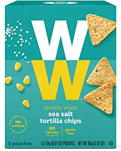 WW Sea Salt Tortilla Chips- Gluten Free- 2 SmartPoints- 1 Box (5 Count) Weight Watchers