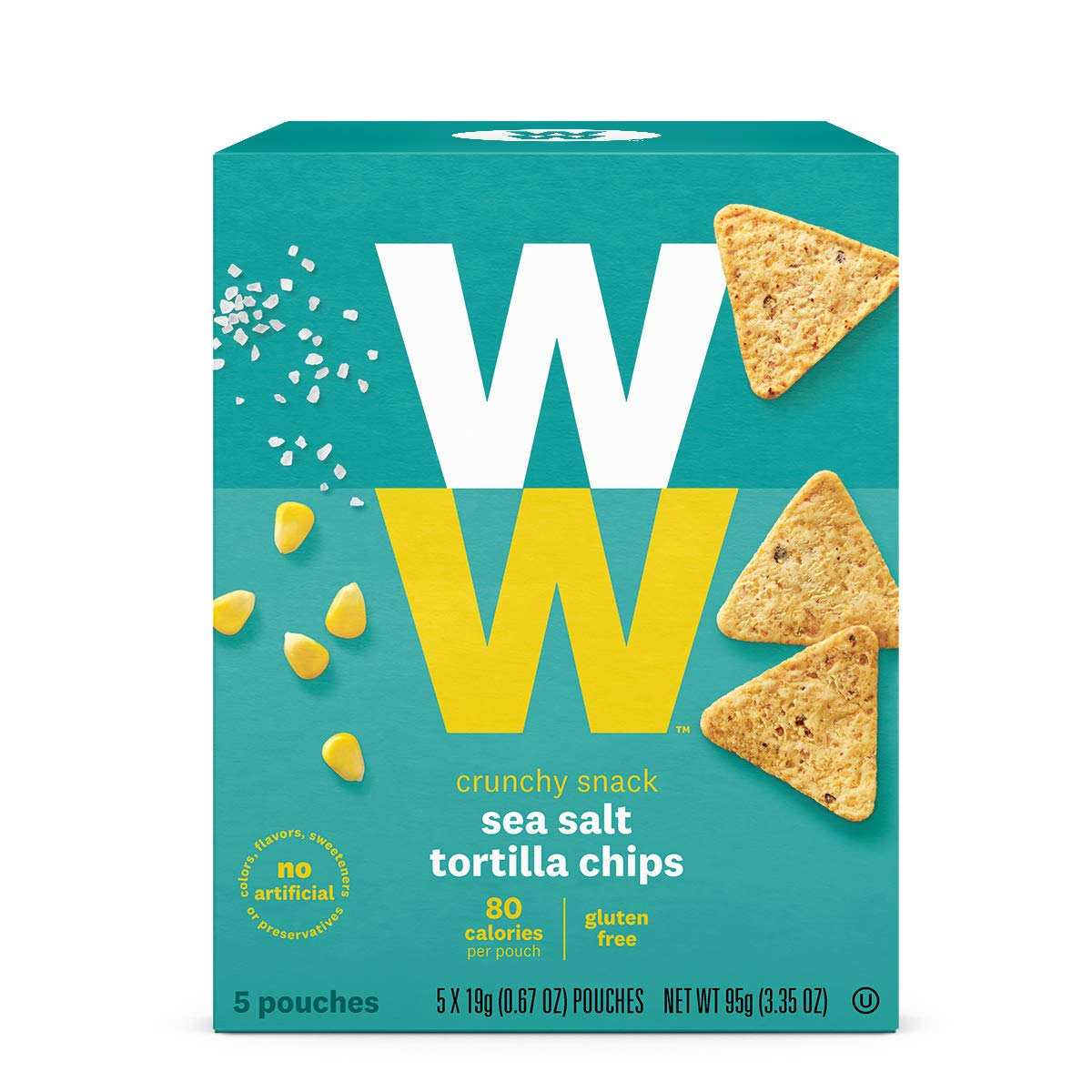 WW Sea Salt Tortilla Chips- Gluten Free- 2 SmartPoints- 1 Box (5 Count) Weight Watchers by w w