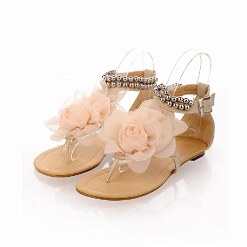 9e1ebdc9cea410 New Summer Fashion Flower Beaded Women s T Strap Sweet Flats Sandals Shoes  (4.5