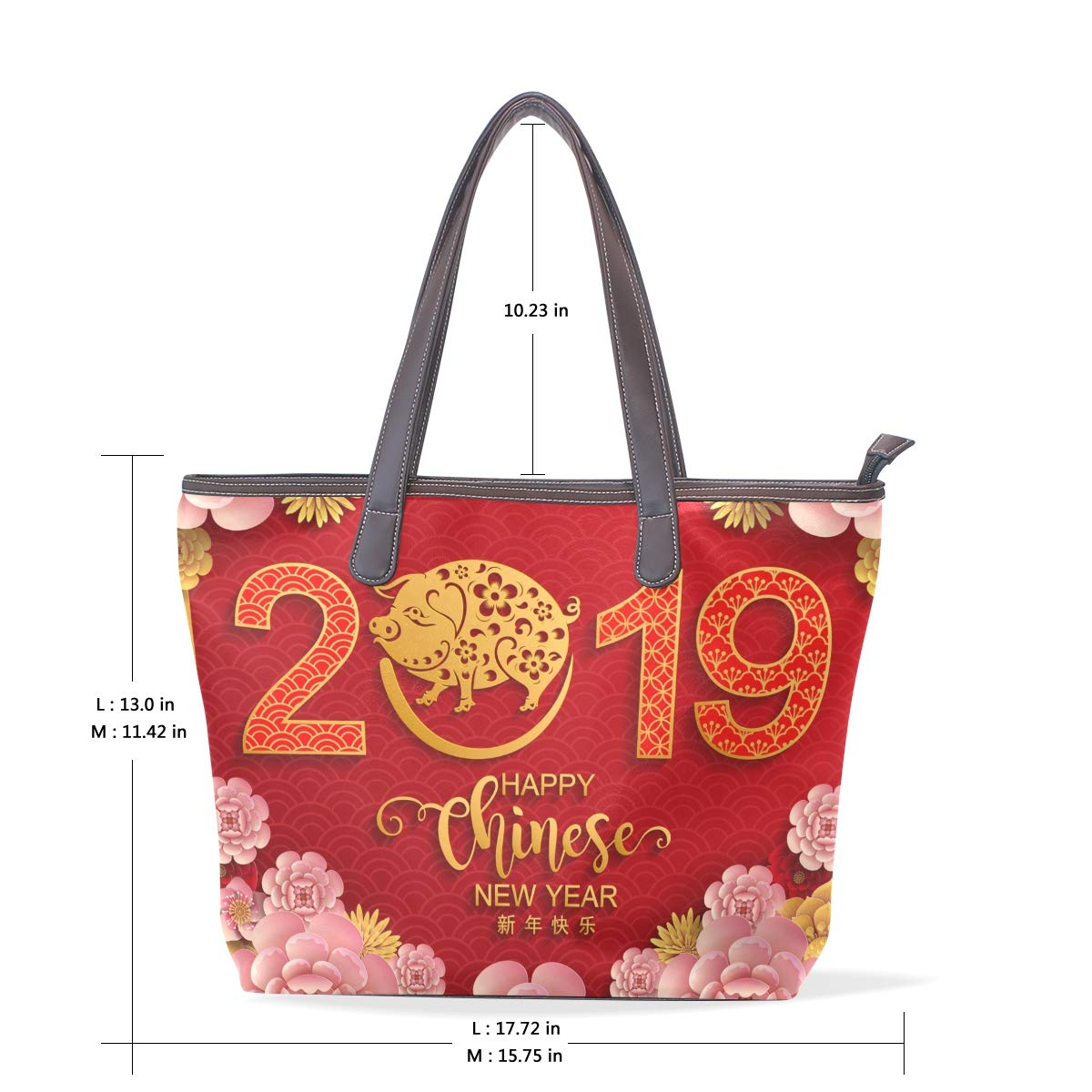 Happy Chinese New Year 2019 Of The Pig Womens Fashion Large Shoulder Bag Handbag Tote Purse for Lady