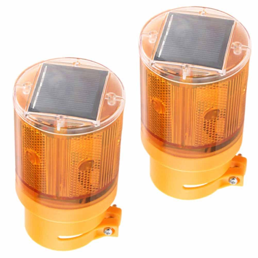 Solar Traffic Light Flashing Barricade Emergency Strobe Warning Light Wireless Safety Road Construction Beacon Lamp(Warm 2Pieces)