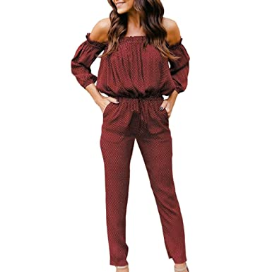 5ecb0e16a95 Bravetoshop Off Shoulder Jumpsuit Dot Print Pocket Romper Drawstring High  Waist (Wine