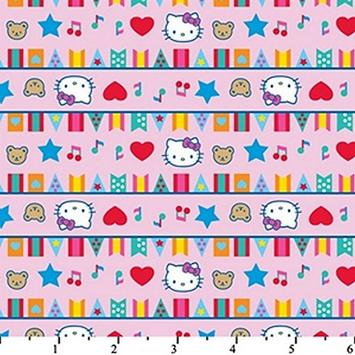 Hello Kitty Big Top Flags Pink HK-26 100% Cotton Fabric Quil