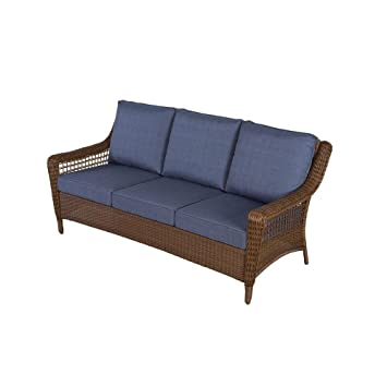Spring Haven Brown All Weather Wicker Patio Sofa With Sky Cushions