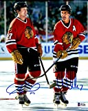 Beckett-BAS Jeremy Roenick and Chris Chelios Dual Autographed Signed Chicago Blackhawks 8x10 Photo Photograph