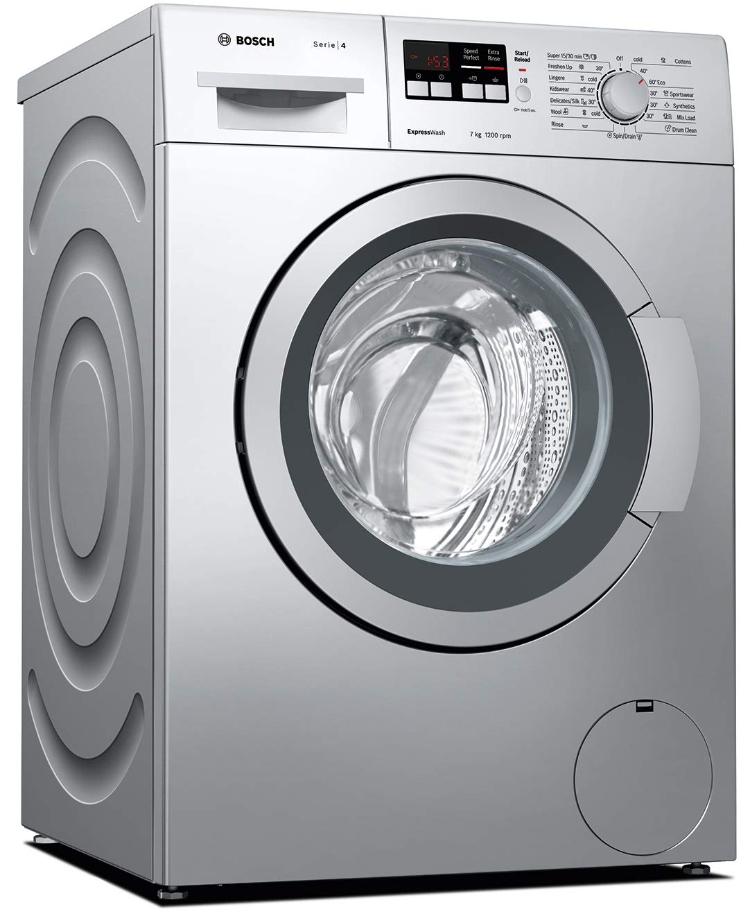 Bosch 7 kg Fully-Automatic Front Loading Washing Machine (WAK24164IN, Silver,...
