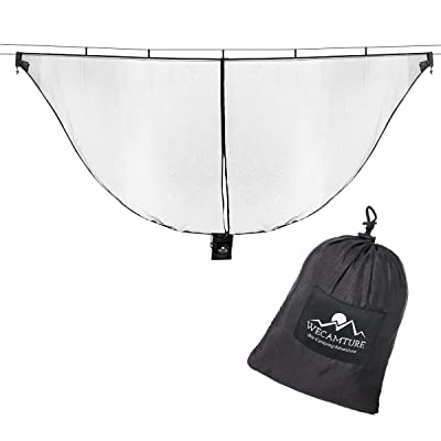 Wecamture Hammock Bug Mosquito Net XL 11x4.6FT No-See-Ums Polyester Fabric for 360 Degree Protection Dual Sided Diagonal Zipper for Easy Access Fits All Hammocks : Sports & Outdoors