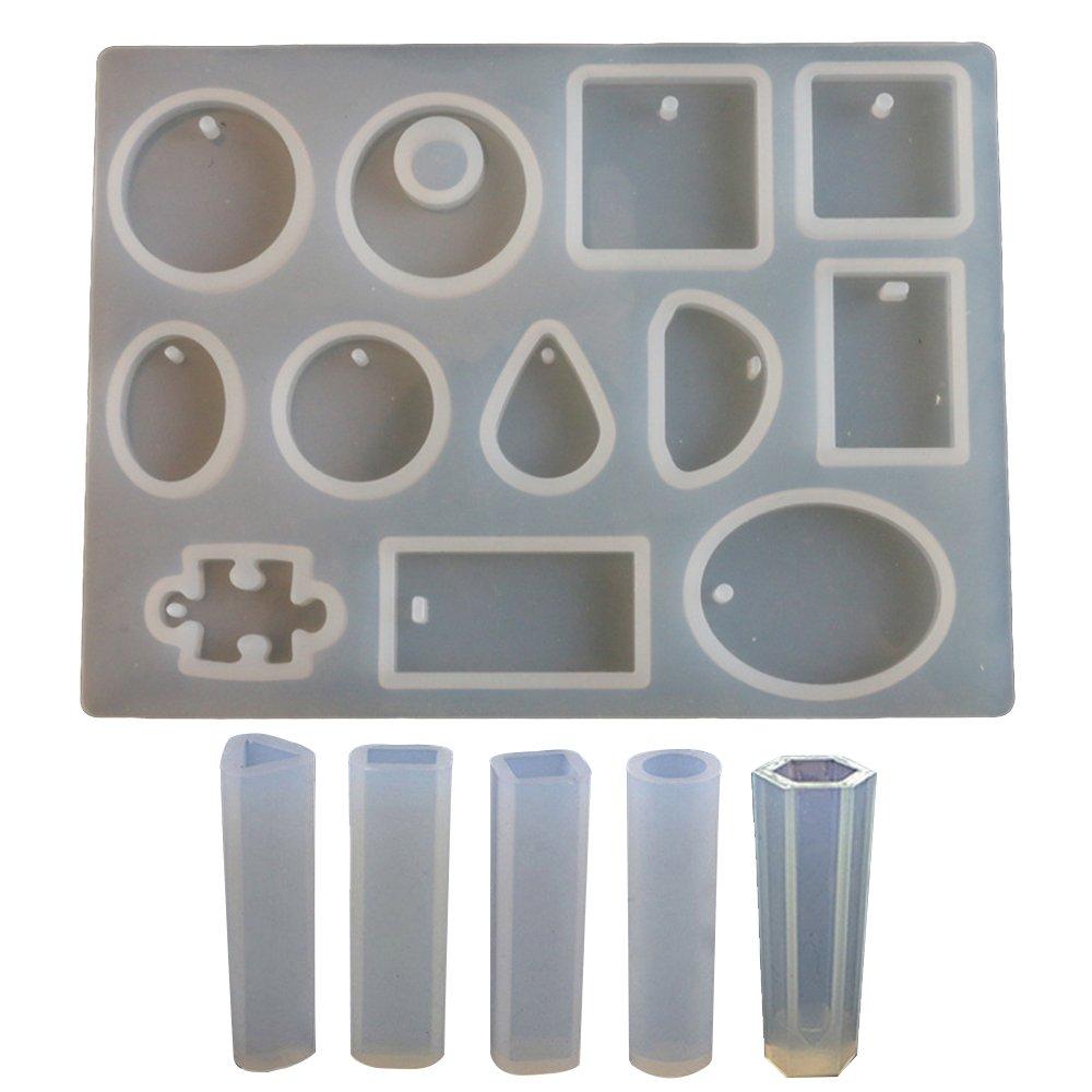 Contever 17 Formas Molde de Joyas Silicona para Collar Molduras Fabricación de DIY Colgante Collar Pendiente Creativo Bricolaje: Amazon.es: Bricolaje y ...