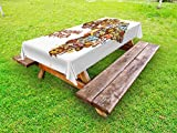 Lunarable African Outdoor Tablecloth, Africa Map with Native Objects Icons Tribal Mask and Mammals Graphic Travel Theme, Decorative Washable Picnic Table Cloth, 58 X 104 inches, Multicolor