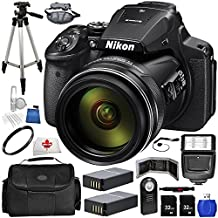 """Nikon COOLPIX P900 Digital Camera (Black) 17PC Accessory Bundle. Includes 2x 32 GB SD Memory Cards + High Speed Memory Card Reader + 50"""" Tripod + Carrying Case + 2x Replacement Batteries + UV Filter + More"""