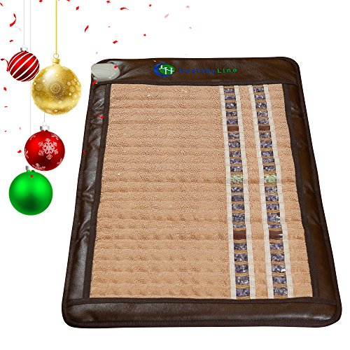 HealthyLine Infrared Heating Mat / Blanket (Soft & Flexible)|TAJ, Natural Amethyst, Jade & Tourmaline Ceramic, (Medium Size) 40″ x 24″ |Relieve Pain, Sore Muscles |​​US FDA Registered (Model Hypertension Set)
