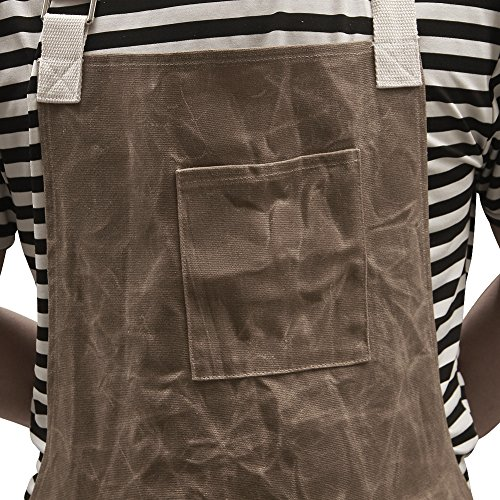 Utility Waxed Canvas Work Apron Multi-Use Shop Aprons with Six Pockets Heavy Duty Waterproof Tool Apron for Men Women (Dark Gray, Adjustable Neck Strap) WQ03-2 by QEES (Image #3)